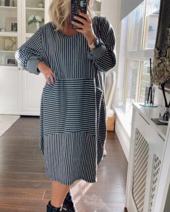 fuller bust dress in stripe