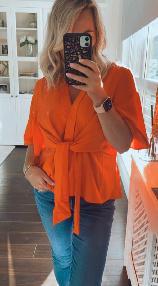 fuller bust top with tie front