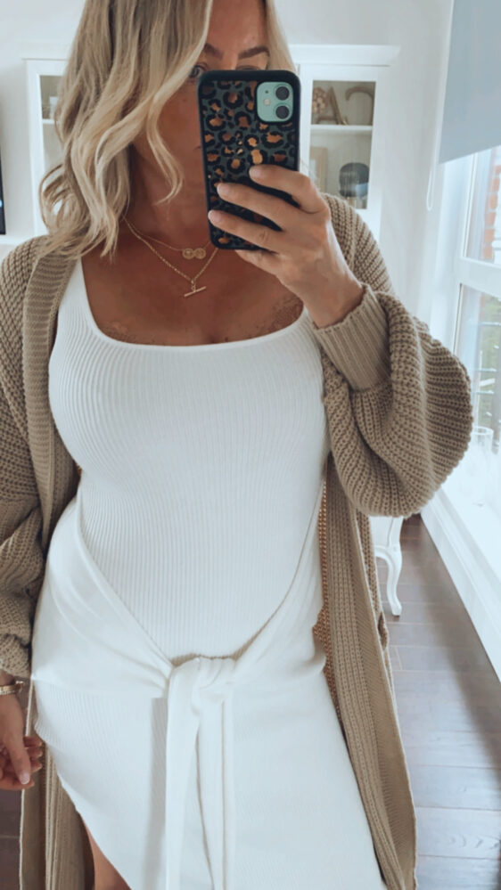fuller bust dress and cardigan