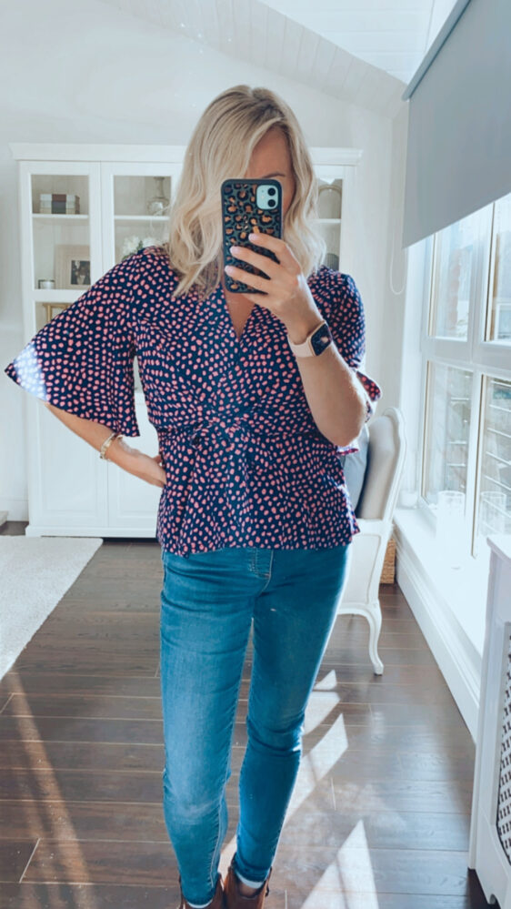Fuller bust top with pink polka dot print