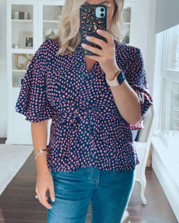 Fuller bust top with tie front detail in polka dot