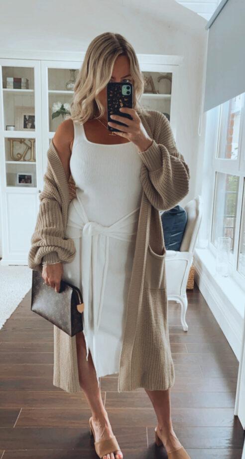 Fuller Bust knitwear dress and Cardi