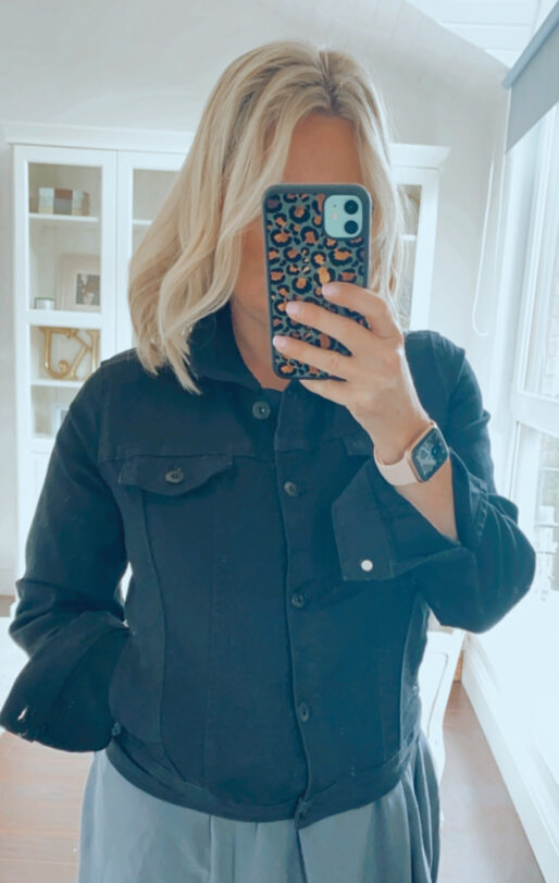 fuller bust black denim jacket