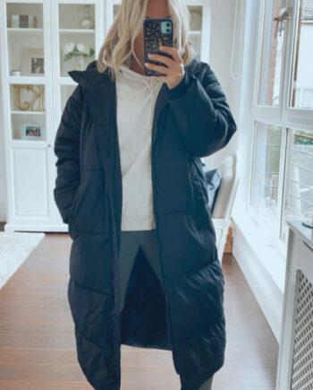fuller bust long puffy coat