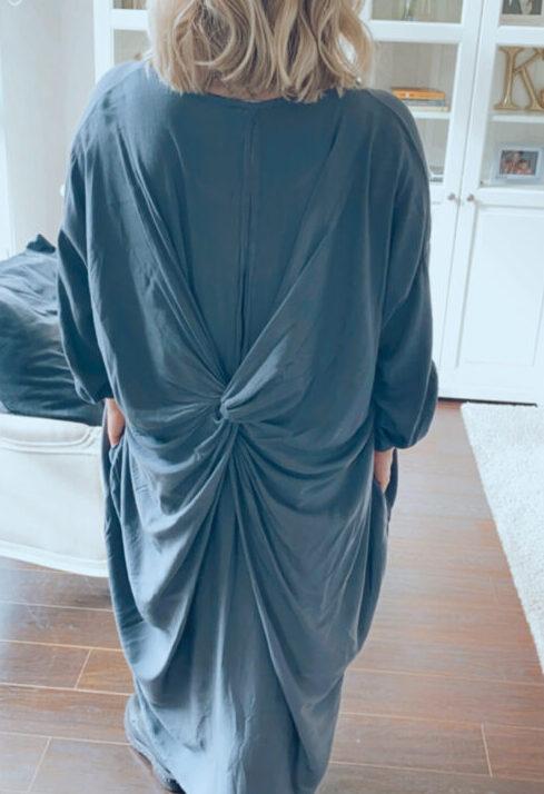 curve friendly twist back dress