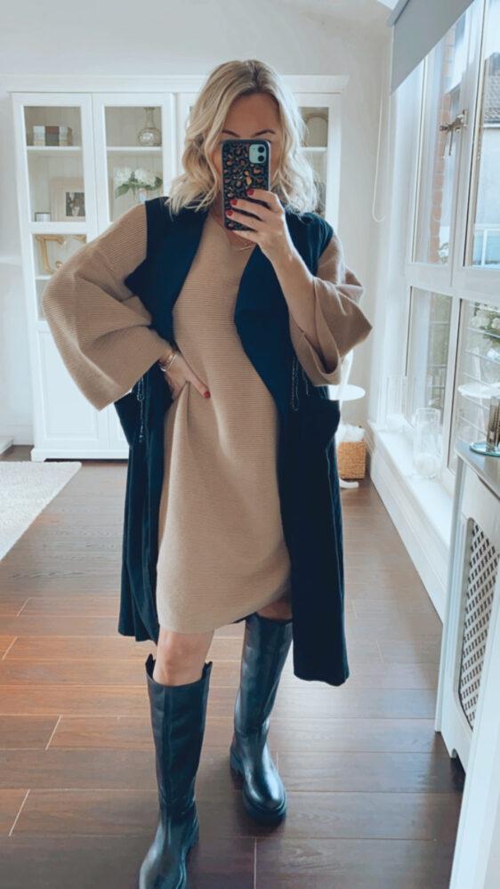 camel kimono sleeve dress