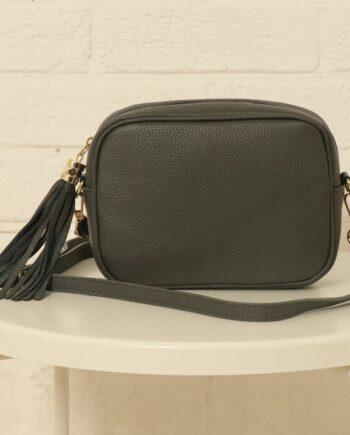 Dark grey leather camera bag